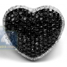 14K White Gold 4.89 ct Black Diamond Womens Heart Ring
