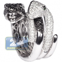 Womens Black White Diamond Double Snake Ring 14K Gold 4.25 ct