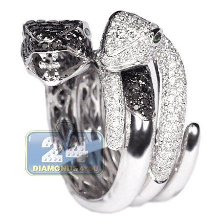 Womens Black White Diamond Double Snake Ring 14K Gold 4.25 ct