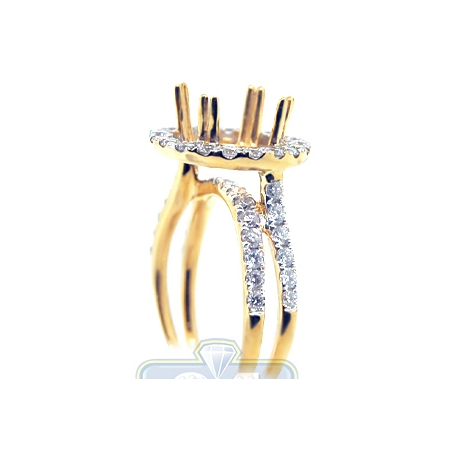 18K Yellow Gold 1.11 ct Diamond Engagement Ring Semi Mount Setting
