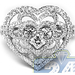 18K White Gold 1.37 ct Diamond Womens Vintage Heart Ring
