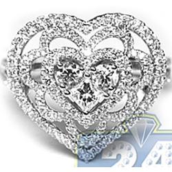 18K White Gold 1.37 ct Diamond Womens Heart Ring