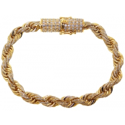 Mens Diamond Rope Bracelet Solid 10K Yellow Gold 8.12 ct 7 mm 8""