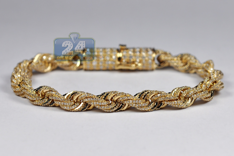 ee1dc41d74296 10K Yellow Gold 8.12 ct Diamond Rope Mens Bracelet 7 mm 8 inch