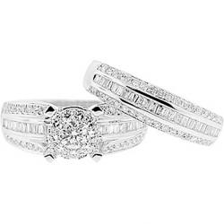 14K White Gold 1.66 ct Diamond Womens Engagement Wedding Rings Set