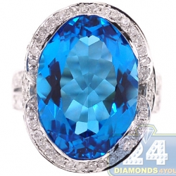 14K White Gold 18.04 ct Oval Blue Topaz Diamond Cocktail Ring