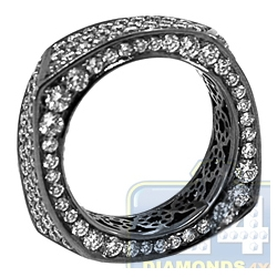 Black 18K Gold 3.33 ct All Diamond Womens Eternity Band Ring