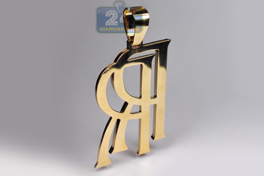 Mens Diamond Rolls Royce Rr Logo Pendant 10k Yellow Gold 5