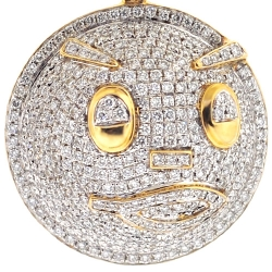 Mens Diamond Pave Emoji Face Pendant 14K Yellow Gold 2.95 ct