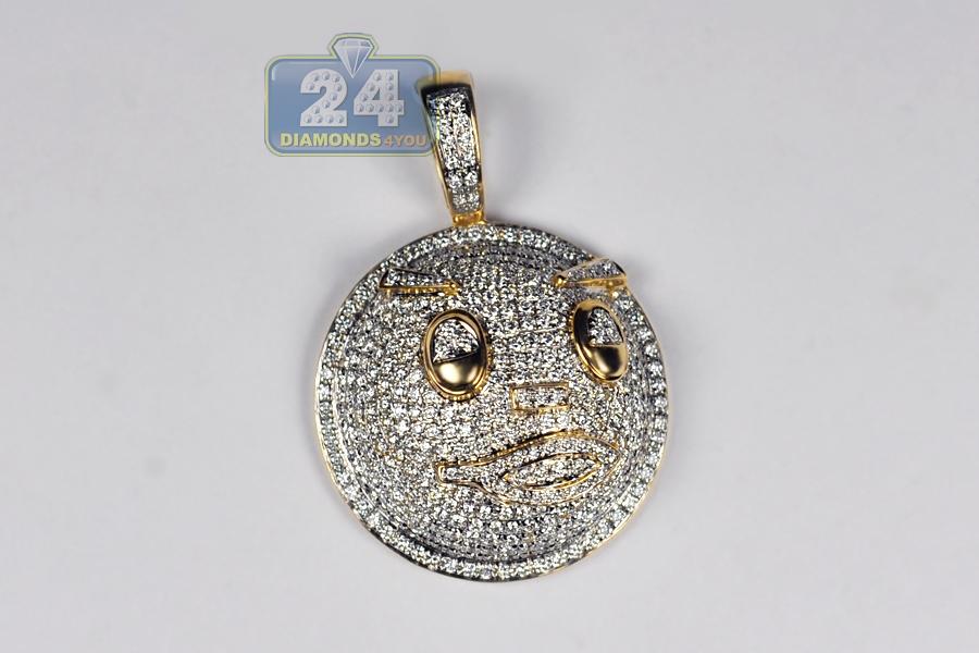 Face Pendant Mens diamond pave emoji face pendant 14k yellow gold 295 ct audiocablefo
