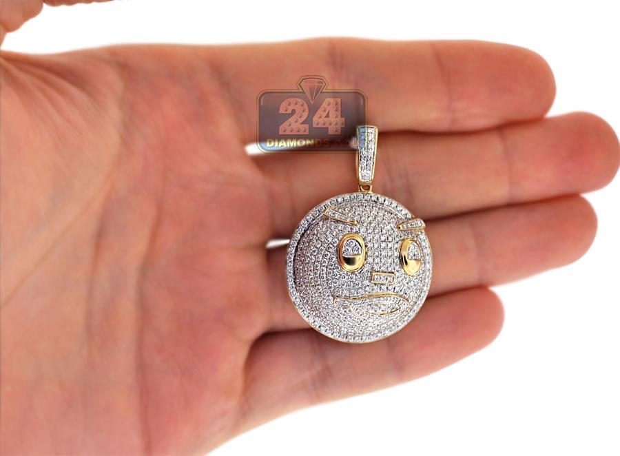 Mens Diamond Pave Emoji Face Pendant 14k Yellow Gold 2 95 Ct
