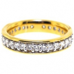 14K Yellow Gold 1.03 ct All Way Diamond Womens Eternity Band Ring