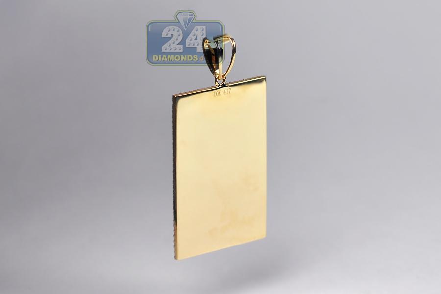 Mens Diamond Rolls Royce Rr Badge Pendant 10k Yellow Gold