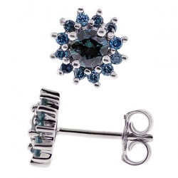 Womens Blue Diamond Cluster Flower Stud Earrings Sterling Silver