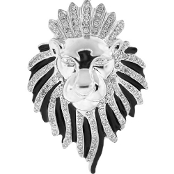 Mens Diamond Lion Head Pendant 10K White Gold Black Enamel .87ct