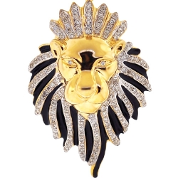 Mens Diamond Lion Head Pendant 10K Yellow Gold Black Enamel .88ct