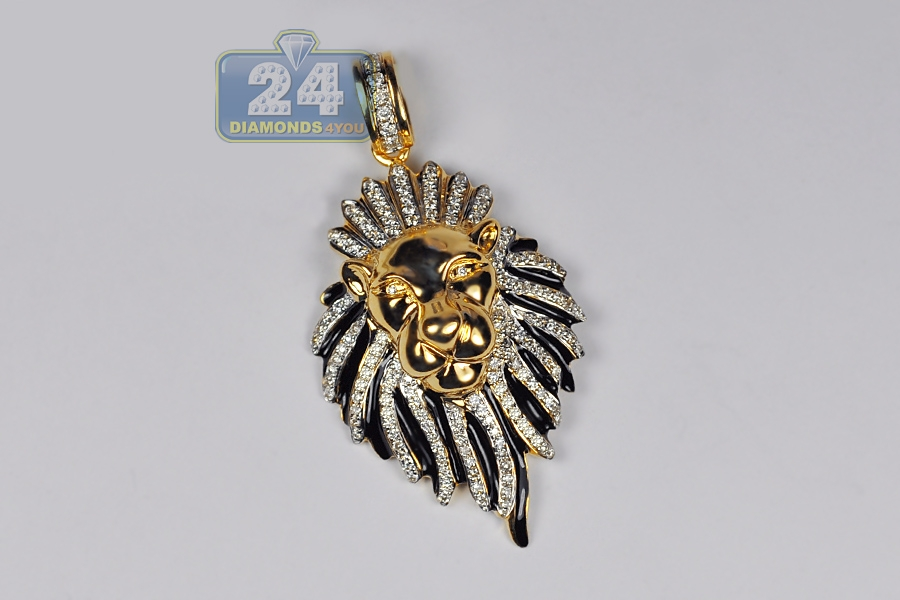 Mens Diamond Lion Head Pendant 10k Yellow Gold Black