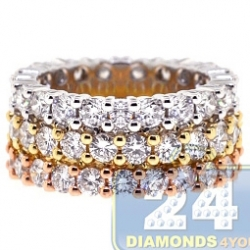 14K Three Tone Gold 5.88 ct Diamond Womens Triple Eternity Band Ring