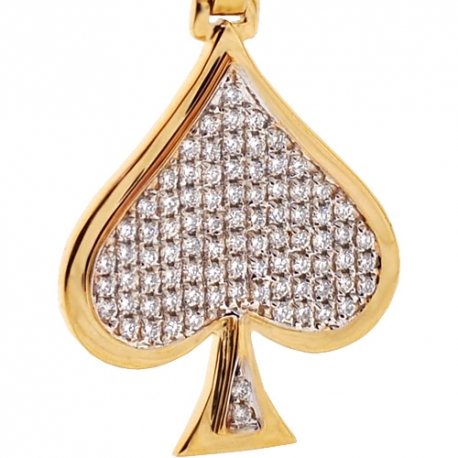 Mens Womens Diamond Card Game Spades Pendant 14K Yellow Gold