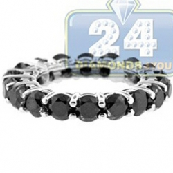 14K White Gold All Way 6.06 ct Black Diamond Womens Eternity Ring