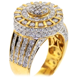 14K Yellow Gold 4.04 ct Diamond Cluster Men's Ring