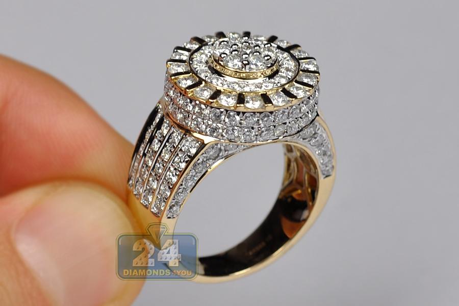 Mens Diamond Cluster Round Pinky Ring 14k Yellow Gold 4 04 Ct