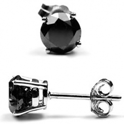 925 Sterling Silver 2.50 ct Black Diamond Womens Stud Earrings