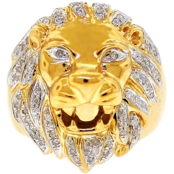 14K Yellow Gold 0.42 ct Diamond Lion Head Mens Ring