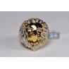 14K Yellow Gold 0.42 ct Diamond Lion Head Mens Ring