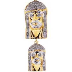10K Yellow Gold 0.27 ct Diamond Double Jesus Christ Pendant