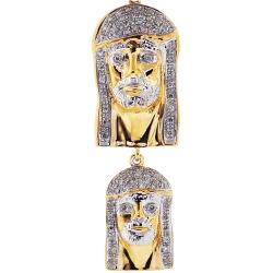 10K Yellow Gold 0.27 ct Diamond Double Jesus Christ Pendant