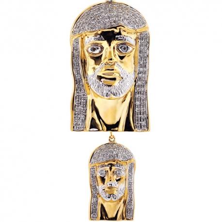 Mens Diamond Jesus Christ Head Dual Pendant 10K Yellow Gold .50ct