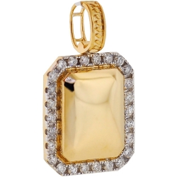Mens Diamond Dog Tag Puff ID Pendant 14K Yellow Gold 1.22ct