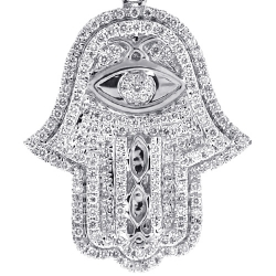14K White Gold 1.39 ct Diamond Hamsa Hand Evil Eye Pendant