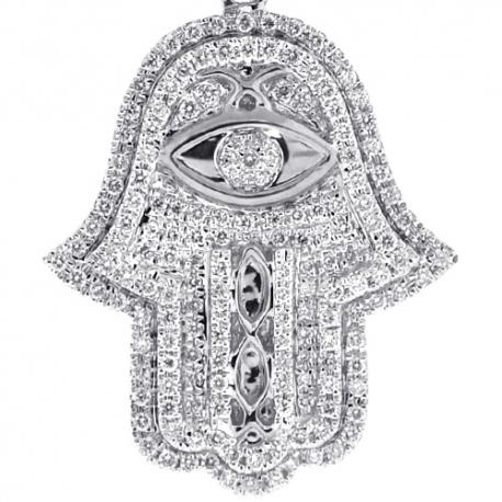 14K White Gold 1.39 ct Diamond Hamsa Hand Evil Eye Pendant