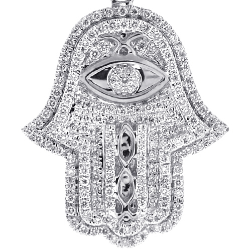 Mens diamond hamsa hand evil eye pendant 14k white gold 139 ct 14k white gold 139 ct diamond hamsa hand evil eye pendant aloadofball Image collections