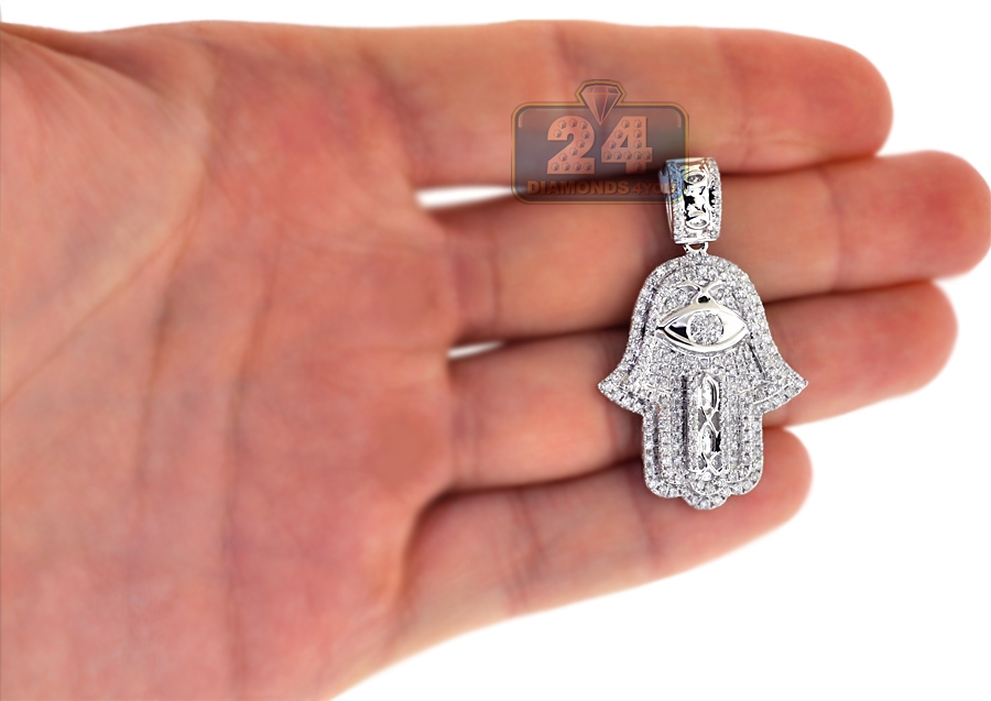 Mens Diamond Hamsa Hand Evil Eye Pendant 14k White Gold 1