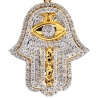 14K Yellow Gold 1.37 ct Diamond Hamsa Hand Evil Eye Pendant