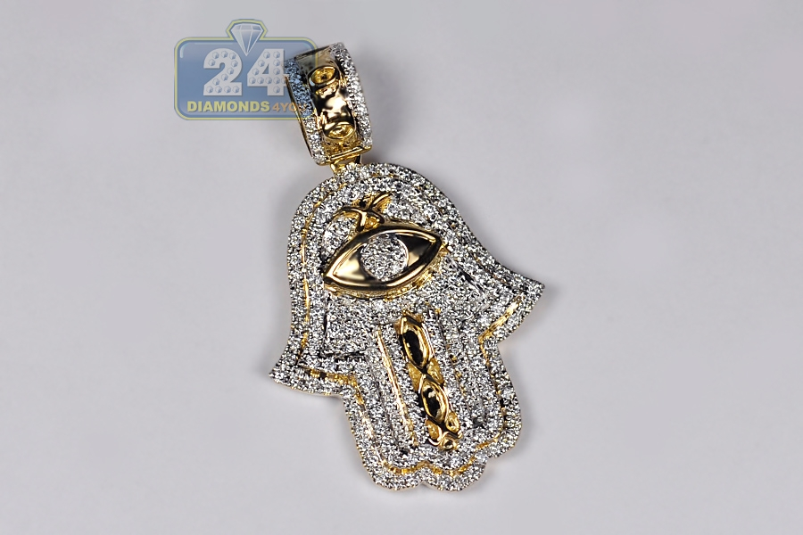 Mens diamond hamsa hand evil eye pendant 14k yellow gold 137 ct 14k yellow gold 137 ct diamond hamsa hand evil eye pendant mozeypictures Images