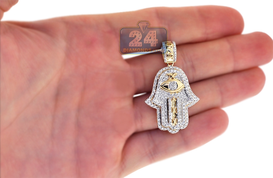 Mens Diamond Hamsa Hand Evil Eye Pendant 14k Yellow Gold 1