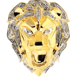 Mens Diamond Lion Head Pendant Solid 10K Yellow Gold 0.33ct