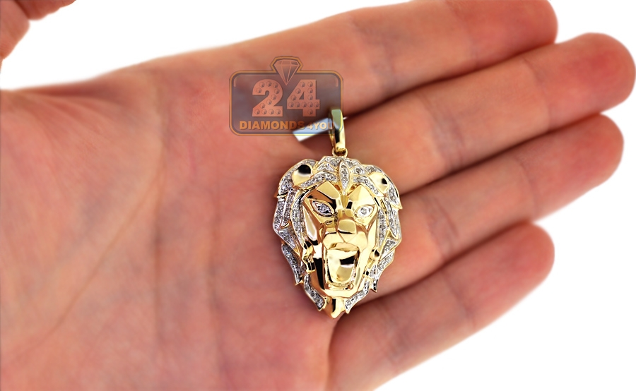 Mens diamond lion head pendant solid 10k yellow gold 033ct aloadofball Choice Image