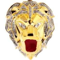 Mens Diamond Lion Head Pendant 10K Yellow Gold Red Enamel 1.75""