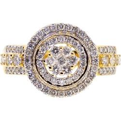 14K Yellow Gold 1.45 ct Diamond Cluster Mens Ring