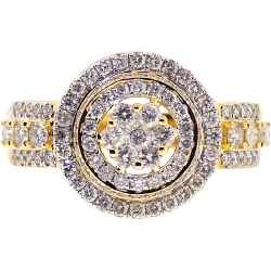 10K Yellow Gold 1.42 ct Diamond Cluster Round Halo Ring