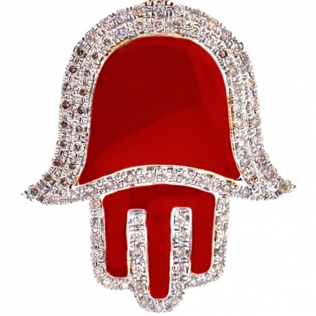 10K Yellow Gold Red Enamel 0.46ct Diamond Hamsa Hand Pendant