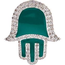 10K Yellow Gold Green Enamel 0.46 ct Diamond Hamsa Hand Pendant