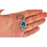 10K Yellow Gold Green Enamel 0.46ct Diamond Hamsa Hand Pendant
