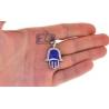 10K Yellow Gold Blue Enamel 0.46ct Diamond Hamsa Hand Pendant
