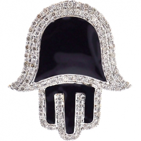 10K Yellow Gold Black Enamel 0.46ct Diamond Hamsa Hand Pendant